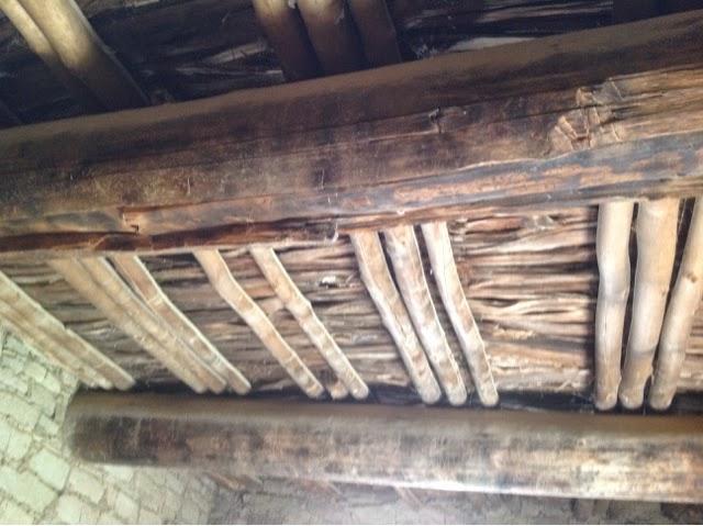 900 year old wooden ceiling in room of pueblo