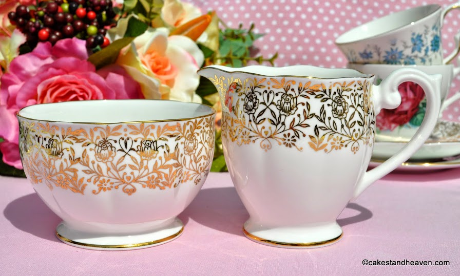 Queen Anne gold floral cream jug and sugar bowl