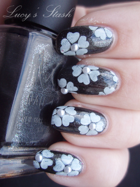 Nail Art Mani With Half Pearl Decorations Lucys Stash