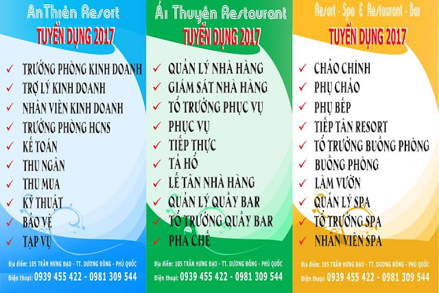 Resort An Thiên & Nhà hàng Ái Thuyên Thông báo tuyển dụng