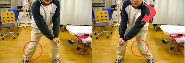 レシーブ動作時の膝の動き