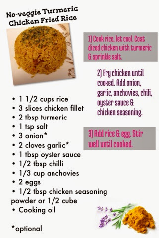 No-veggie Turmeric Chicken Fried Rice recipe
