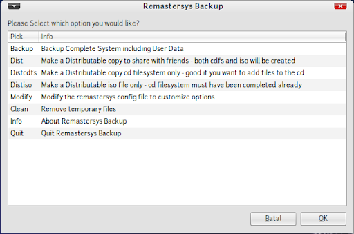 Tampilan remastersys backup