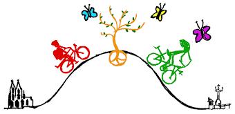 Grafik:Vom Kölner Dom nach Konstanz, bergauf - bergab, stilisierte Radler, Schmetterlinge und ein Baum, dessen Wurzeln bilden das Friedenszeichen.