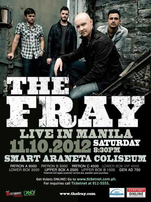 Ticket Prices Details The Fray Live in Manila 2012