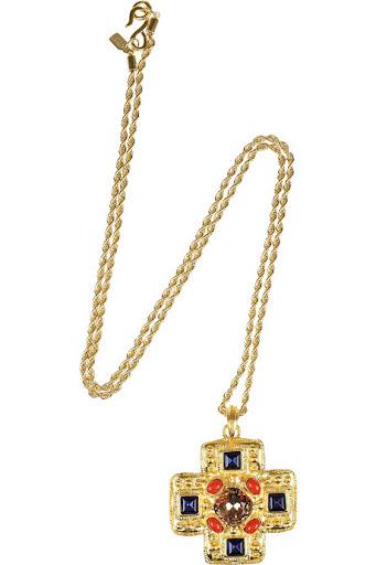 Kenneth Jay Lane's Swarovski crystal-embellished 22-karat gold-plated cross pendant necklace