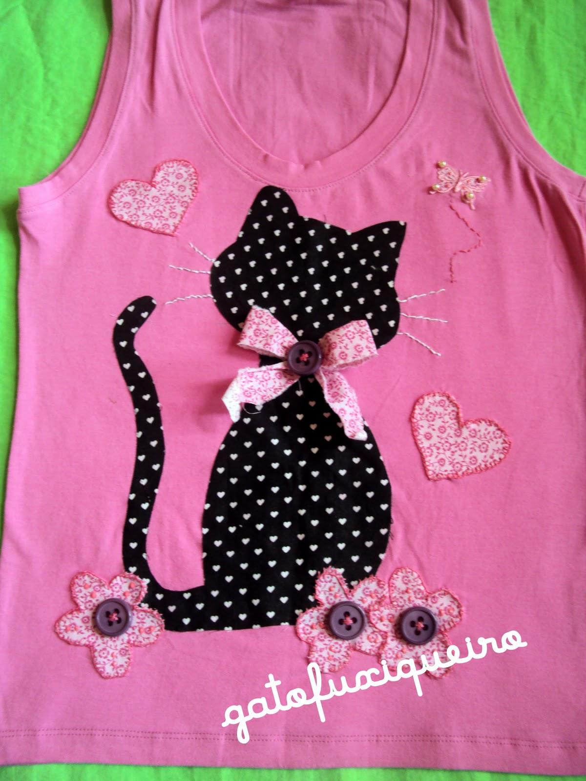 Gato fuxiqueiro camisetas customizadas com bordados - Telas con motivos infantiles ...