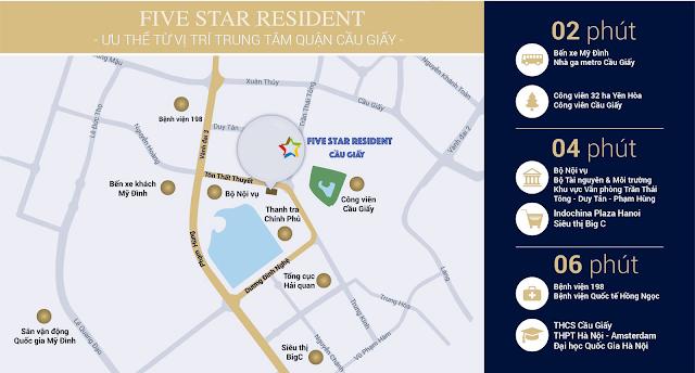 Vị trí đắc địa chung cư Five Star Cầu Giấy
