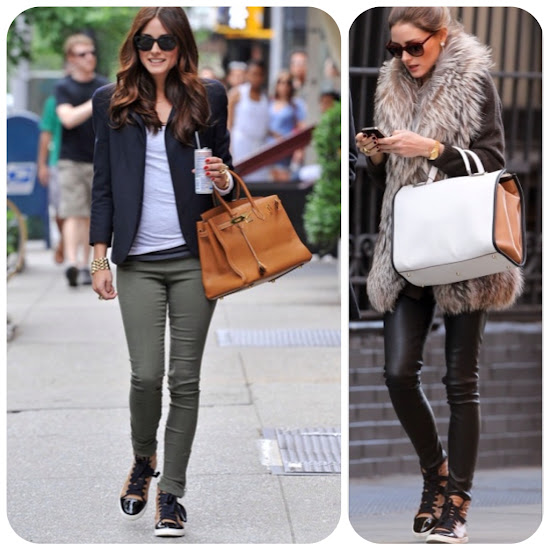 Olivia Palermo Style Fall Fashion Tips high top sneakers leather