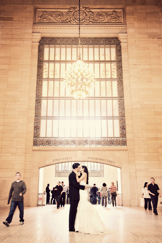 bride and groom in grand central station STUDIO 1208
