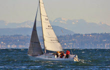 J/27 sailing off towards Vashon Island near Seattle, WA