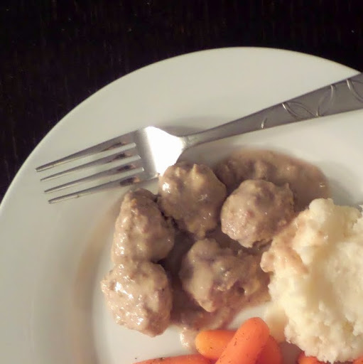 Swedish Meatballs:  Delicious meatballs in a creamy gravy.  I literally licked my plate clean.