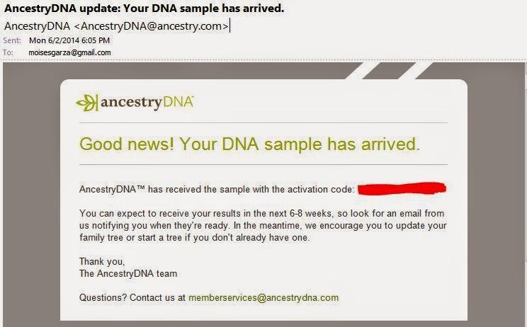 AncestryDNA Update - Your DNA Sample Has Arrived