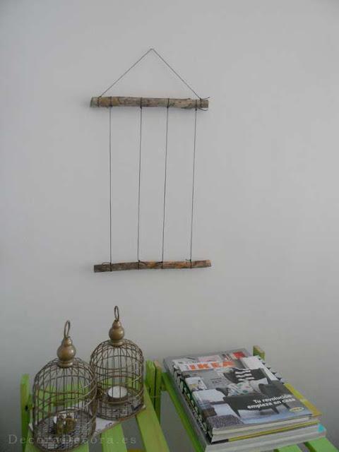 Colgar fotografías con troncos y cordon. DIY.