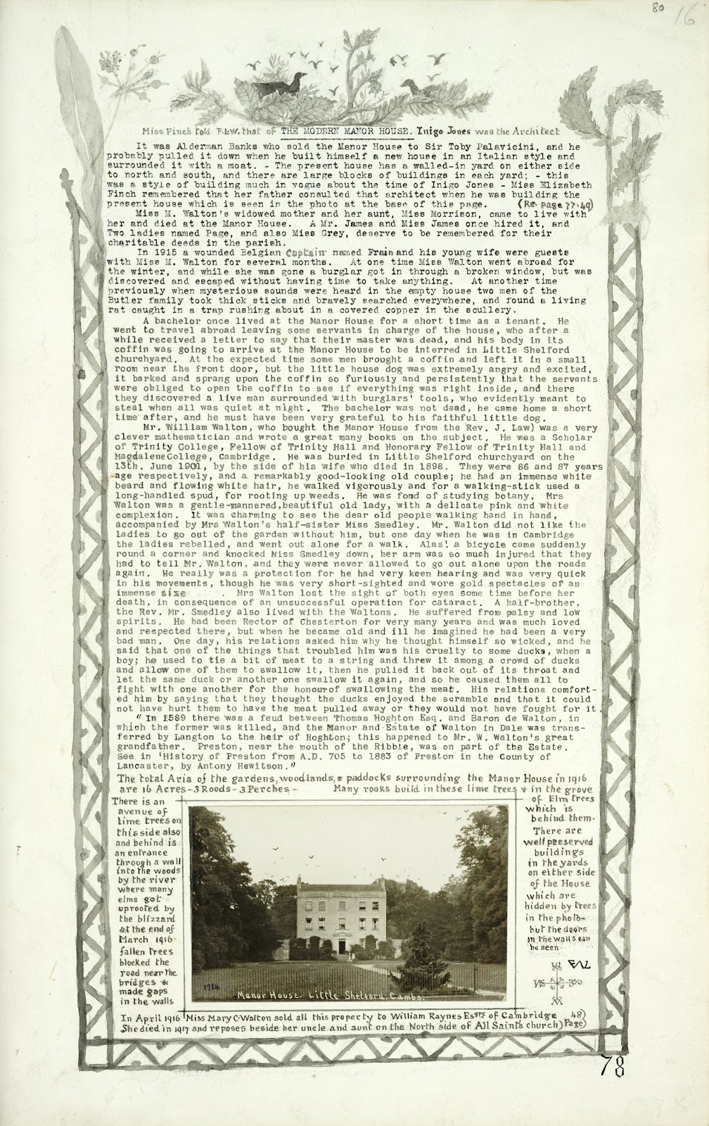 A Record of Shelford Parva by Fanny Wale P78 fo. 80, page 78: The modern Manor House, long description of house and inhabitants with postcard view at the bottom, 1914. [not in photographic copy]