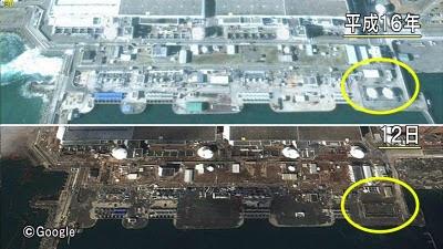從日本的空拍圖可以清楚看到,海嘯後緊急備用的柴油發 電機已不見(黃色圈部份)。