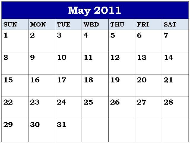 blank calendar 2011. Free Blank Planner May 2011