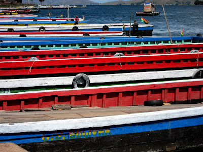 Boats at the river crossing on the way from Copacabana to La Paz Bolivia