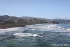 Sharp Park Beach and Mori Point seen from fishing pier