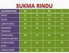 saiz baju kurung malaysia