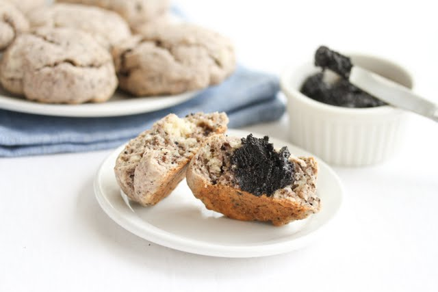photo of a scone with oreo spread