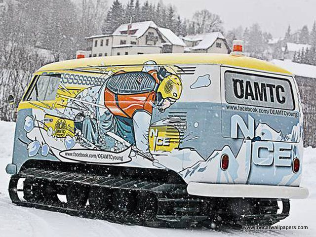 VW Bus Snow Tracks
