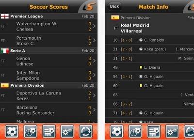 LiveScore, una aplicación para seguir resultados de fútbol en vivo