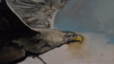 Work in Progress, Underpainting. Source shows close up of flying eagle
