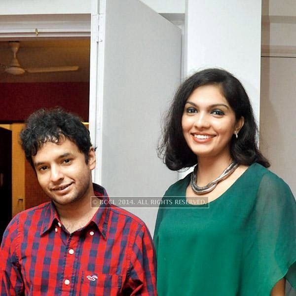 Mayookh Bhaumik & Ishita Chakravarty during the success party of Ranjan Ghosh's film Hrid Majharey.