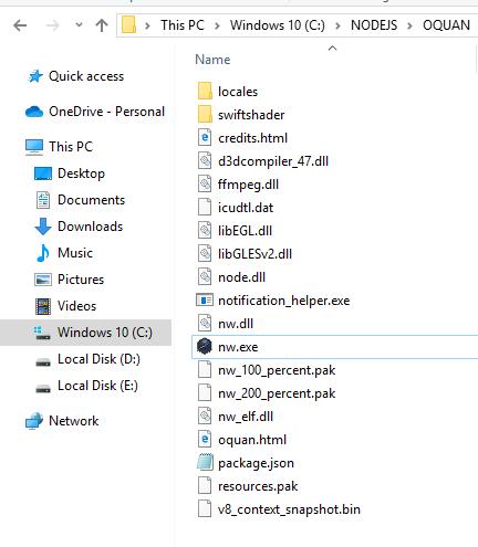 Copy các tệp trong nwjs vào thư mục đã tạo