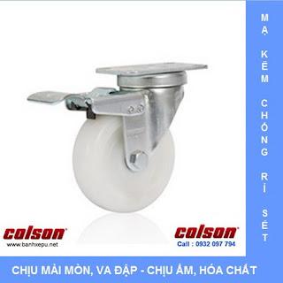 Bánh xe nhựa Nylon bánh xe đẩy chịu lực (82~122kg) www.banhxepu.net