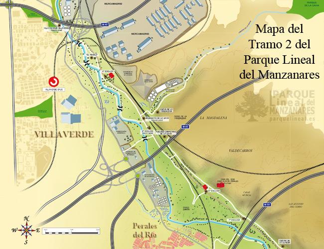 mapa tramo 2 parque lineal del manzanares