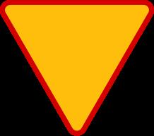 """ustąp pierwszeństwaZnak ostrzega przed koniecznością ustąpienia pierwszeństwa. Umieszczony jest na drodze podporządkowanej przed skrzyżowaniem z drogą z pierwszeństwem, gdy spełnione są warunki widoczności (w innym wypadku stosuje się znak B-20 """"stop""""). W obrębie skrzyżowania znak dotyczy tylko najbliższej jezdni, przed którą został umieszczony. Umieszczony razem ze znakiem C-12 """"ruch okrężny"""" określa pierwszeństwo dla znajdującego się na skrzyżowaniu. Może być umieszczony w innych miejscach, gdzie z przepisów ustawy - Prawo o ruchu drogowym wynika obowiązek ustąpienia pierwszeństwa, np. wyjazd z obiektu, torowisko tramwajowe."""
