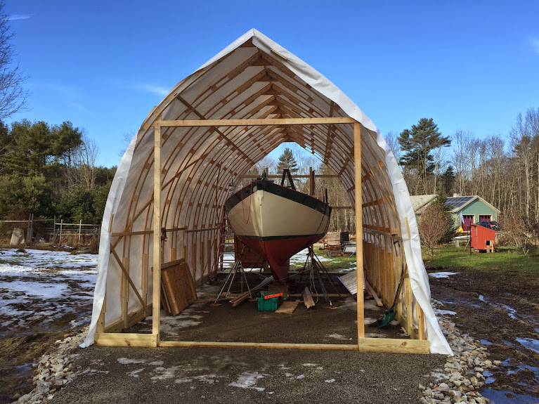 Bow roof boat shed for Bow roof shed