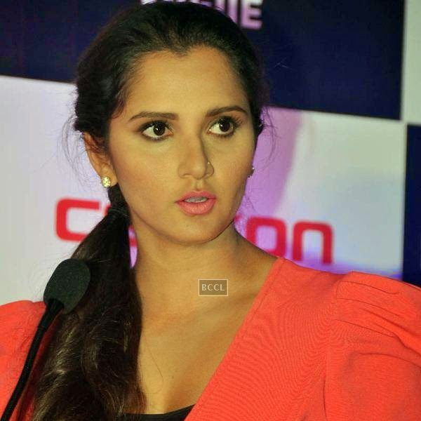 Sania Mirza speaks during the launch of Celkon's Millennium Vogue Q455 in Mumbai, on July 25, 2014. (Pic: Viral Bhayani)