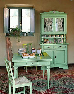 muebles comedor vintage verde agua