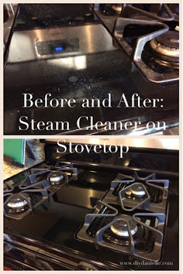 Before and after pictures of using a steam cleaner on a stove top.
