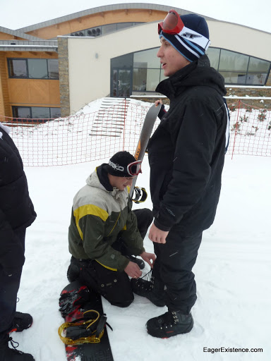 bradley getting his laces tied