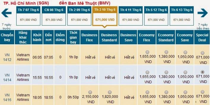 Vé máy bay Vietnam airlines đi Buôn Ma Thuột