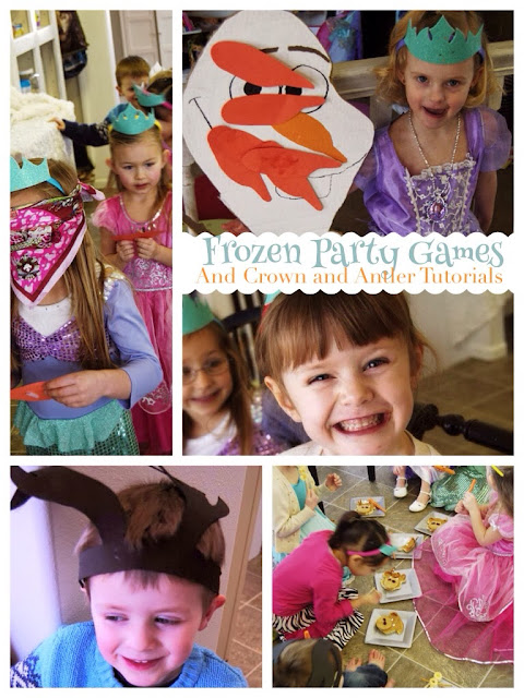 Disney frozen party games, frozen party games, Sven antlers, Elsa crowns, pin the nose on Olaf