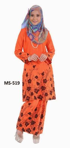 Baju Kurung Pahang Oren Mandarin