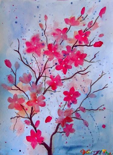 vẽ hoa anh đào bằng màu nước (Bước 10)