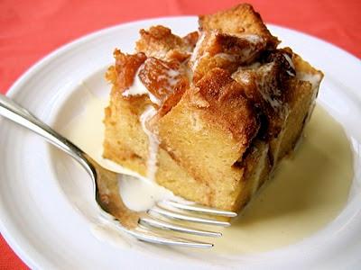 square slice of apple bread pudding
