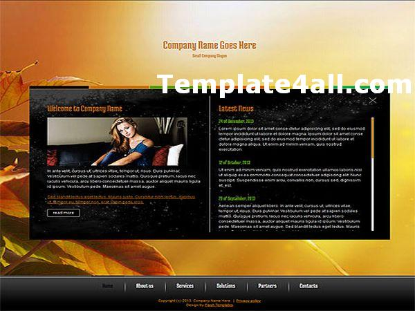 Free Orange Business Flash Website Template