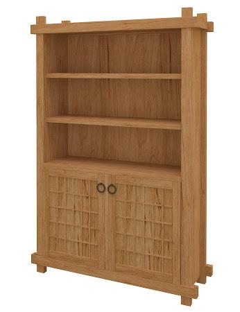 Tansu Wooden Door Bookshelf in Calhoun Maple