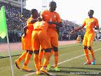 Des joueurs de la Côte d'Ivoire manifestant leur joie le 11/10/2014 au stade Tata Raphael à Kinshasa, lors de la victoire contre les Léopards de la RDC; score: 1-2. Radio Okapi/Ph. John Bompengo