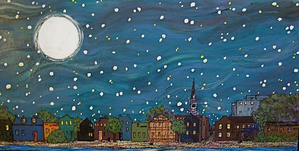 """Moonlight on the City"" by Artist Serena Boschert."