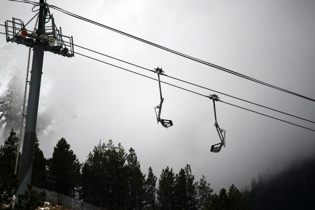 Ski lifts at Coll de la Botella in Andorra