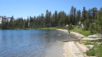 M enjoying one of the few sandy beaches in the Sierra!©http://backpackthesierra.com