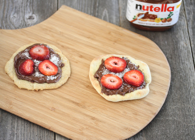 overhead photo of two nutella pizzas